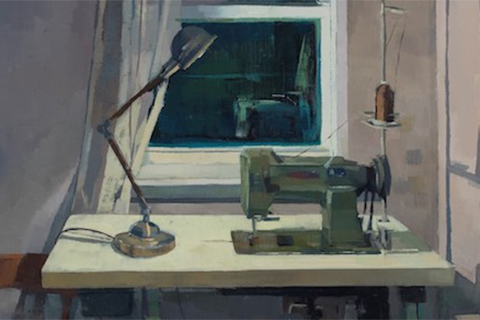 Piece of artwork depicting a sweing machine and desk lamp