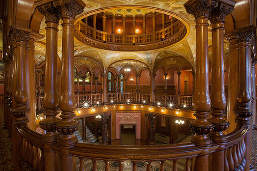 A picture of the Flagler College Rotunda inside.
