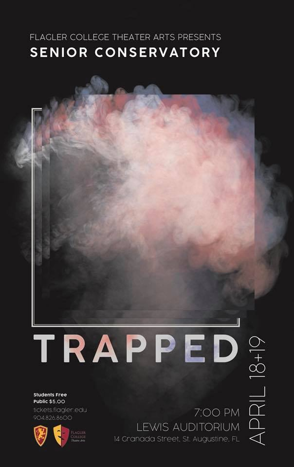 The play Trapped poster depicting cloud of pink smoke.