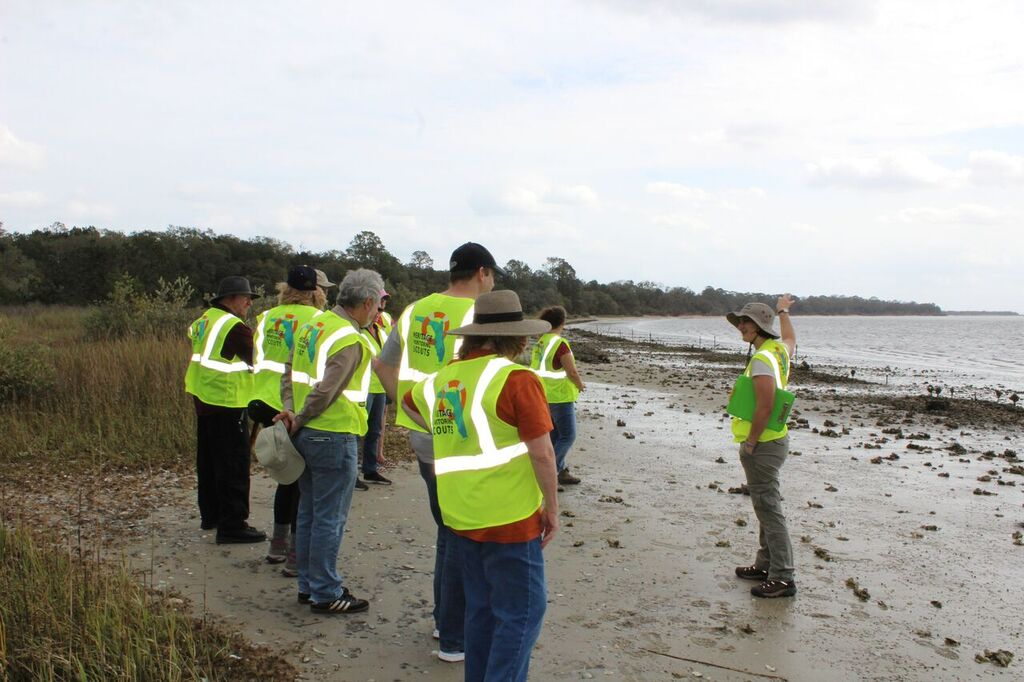 Participants in the Heritage Monitoring Scouts program on the beach.